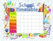 Het tijdschema van de malplaatjeschool stock illustratie