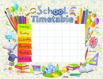 Het tijdschema van de malplaatjeschool vector illustratie