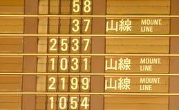 Het tijdschema van het vertrek van trein in Taiwan Stock Afbeelding