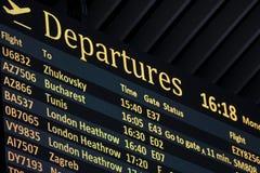 Het tijdschema van het luchthavenvertrek stock afbeelding