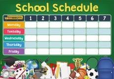 Het tijdschema van het schoolprogramma met studentenpunten stock illustratie