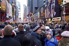 Het Times Square van de Menigte van de Vooravond van nieuwjaren Stock Fotografie