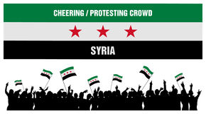Het toejuichen of het Protesteren Menigte Syrië Royalty-vrije Stock Fotografie