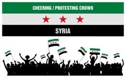 Het toejuichen of het Protesteren Menigte Syrië Stock Foto