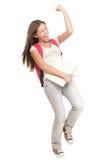 Het toejuichen het vrouwelijke student vieren Stock Foto