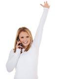 Het toejuichen van meisje die telefoongesprek maken Stock Foto's