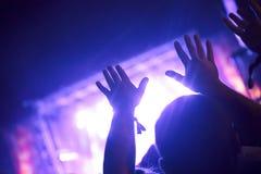 Het toejuichen van menigte met dient lucht bij muziekfestival in stock afbeelding