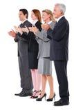 Het toejuichen van zakenlieden en van onderneemsters royalty-vrije stock afbeelding