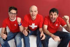 Het toejuichen voor het Zwitserse team stock afbeelding