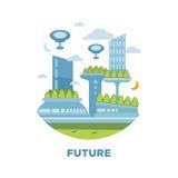 Het toekomstige concept van het stadslandschap Vector moderne cityscape illustratie als achtergrond Stock Foto
