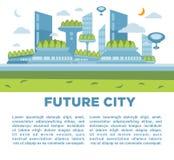Het toekomstige concept van het stadslandschap Vector moderne cityscape illustratie als achtergrond Stock Foto's