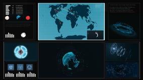 Het toekomstige gebruikersinterface HUD met een wereldkaart, grafieken, hologram van de concepten virtuele aanraking Het interact stock video