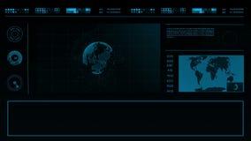 Het toekomstige gebruikersinterface HUD van de concepten virtuele aanraking met een wereldkaart, grafieken, hologram en vlecht He stock video