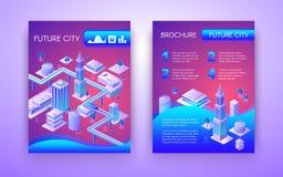 Het toekomstige malplaatje van de stads isometrische vectorbrochure stock illustratie