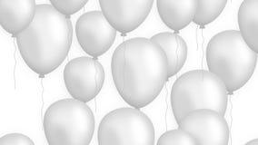 Het toenemen ballons op witte achtergrond voorzagen van een lus stock footage