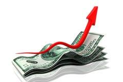 Het toenemen geldgrafieken Royalty-vrije Illustratie