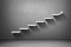 Het toenemen pijlgrafiek op trap op grijze achtergrond vector illustratie