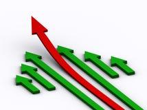 Het toenemen rode pijl vector illustratie