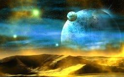 Het toenemen van de waterplaneet over de woestijn royalty-vrije illustratie