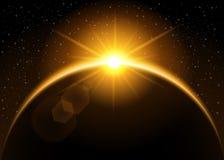 Het toenemen zon achter de planeet Royalty-vrije Stock Foto