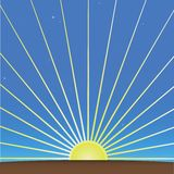 Het toenemen Zon en ochtendhemel Stock Afbeelding