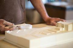 Het toepassen van Witte Verf op 3D Model van de Stadskaart Stock Foto's
