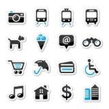 Het toerisme en het vervoer geplaatste pictogrammen van de reis -   Stock Foto's