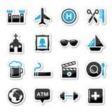 Het toerisme en het vervoer geplaatste pictogrammen van de reis -   Royalty-vrije Stock Afbeeldingen
