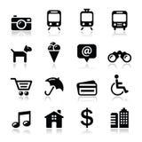 Het toerisme en het vervoer geplaatste pictogrammen van de reis - vector Royalty-vrije Stock Afbeelding