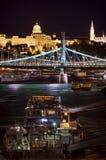 Het toerisme van Boedapest op de rivier van Donau Stock Foto