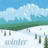 Het toerismeachtergrond van het de winterlandschap Royalty-vrije Stock Afbeelding