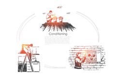 Het toestel van de klimaatcontrole, hersteller het bevestigen veredelingsmiddel, het koelmalplaatje van de materiaalbanner stock illustratie