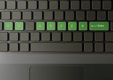Het toetsenbord met gaat groene knoop Stock Foto's