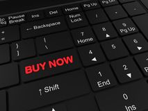 Het toetsenbord met koopt knoop nu rode knoop stock fotografie