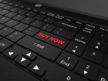 Het toetsenbord met koopt nu knoopconcept stock afbeelding