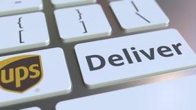 Het toetsenbord met UPS-bedrijfembleem en levert tekst op de sleutels Het redactie conceptuele 3D teruggeven stock illustratie