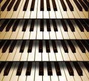 Het toetsenbord van de achtergrondmuziekpiano Stock Foto