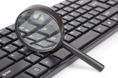 Het toetsenbord van de computer en meer magnifier Royalty-vrije Stock Foto