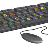 Het toetsenbord van de computer - gekleurde brieven Stock Fotografie