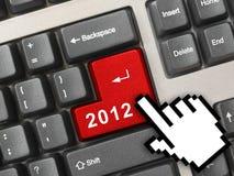 Het toetsenbord van de computer met de sleutel en de curseur van 2012 Stock Afbeelding