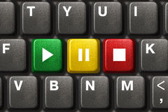 Het toetsenbord van de computer met de sleutels van het Spel, van de Pauze en van het Einde royalty-vrije stock foto