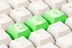 Het toetsenbord van de computer met een ecooptie Stock Foto's