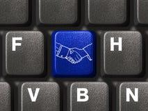 Het toetsenbord van de computer met handdrukknoop Royalty-vrije Stock Afbeelding