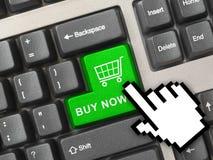 Het toetsenbord van de computer met het winkelen sleutel Royalty-vrije Stock Afbeeldingen