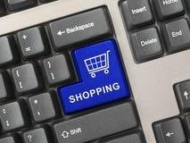 Het toetsenbord van de computer met het winkelen sleutel Stock Foto's