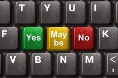 Het toetsenbord van de computer met ja, Nr en misschien sleutels Royalty-vrije Stock Foto's