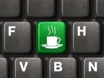 Het toetsenbord van de computer met koffiesleutel Stock Afbeeldingen