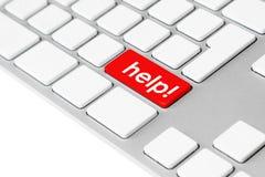 Het toetsenbord van de computer met rode hulpknoop Stock Afbeeldingen