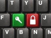 Het toetsenbord van de computer met twee veiligheidsknopen Stock Foto