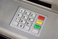 Het toetsenbord van de contant geldmachine in het stadscentrum Stock Foto's
